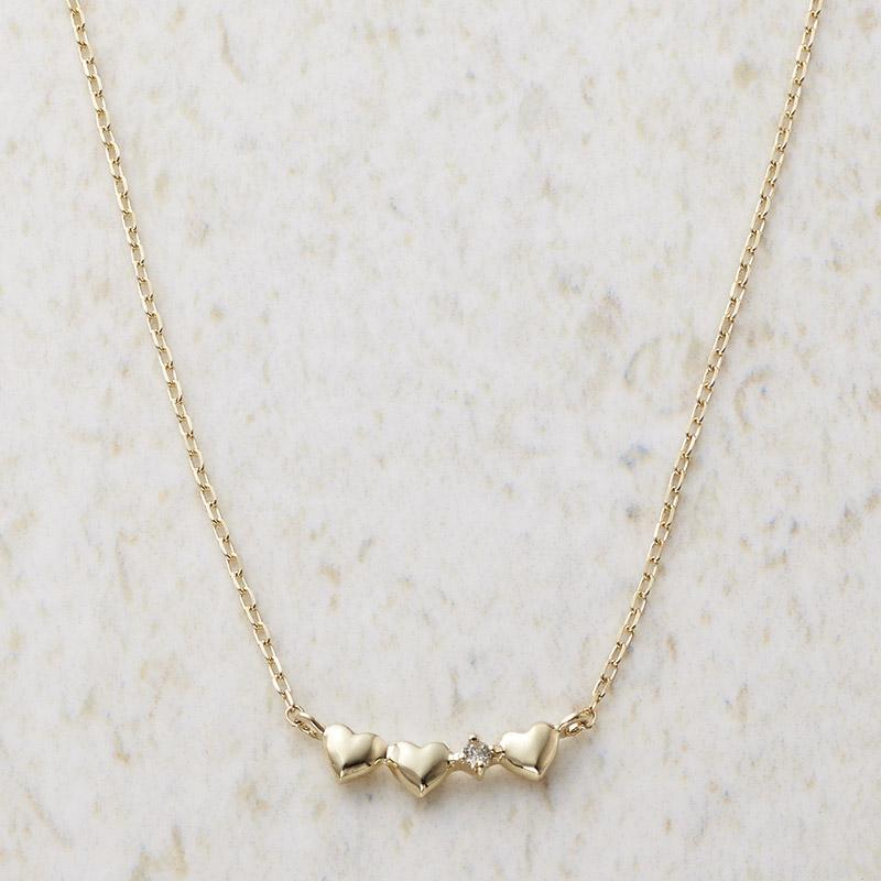 ルーシールーシー ダイヤモンド トリプルハートネックレス (3326) [キャンセル・変更・返品不可]