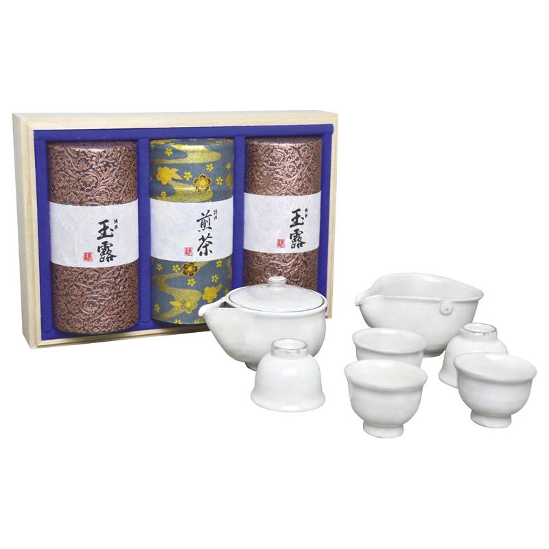 清水焼茶器と宇治茶セット 白 (MK5-502) [キャンセル・変更・返品不可]