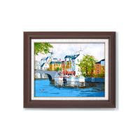 11493 黒沢久 油絵額F6 「運河の風景」