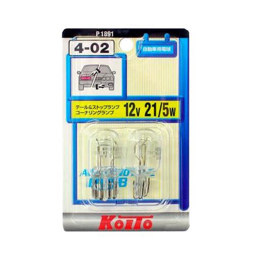 【送料無料】【メール便】  KOITO ノーマルバルブ4-02 T20ウェッジ球 12V21/5W クリア P1891
