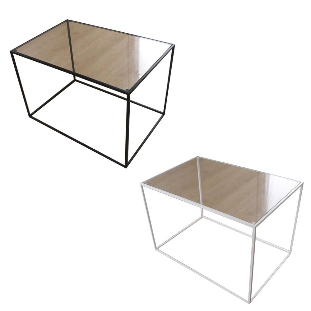 トレイテーブル サイドテーブル 600×400mm ガラス ブラック・HBG-041 [ラッピング不可][代引不可][同梱不可]