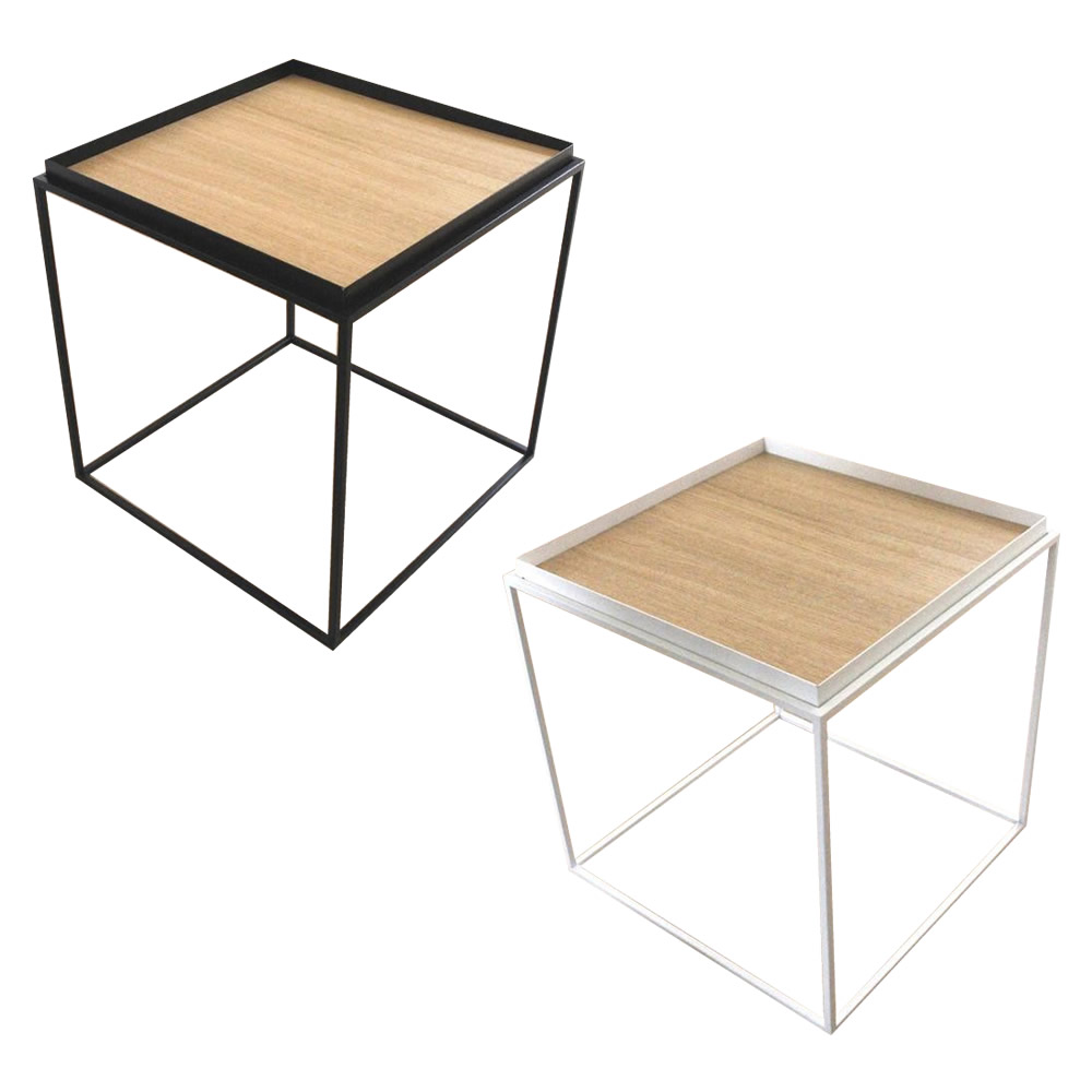 トレイテーブル サイドテーブル 400×400mm ナラ突板 ブラック・HBN-032 [ラッピング不可][代引不可][同梱不可]