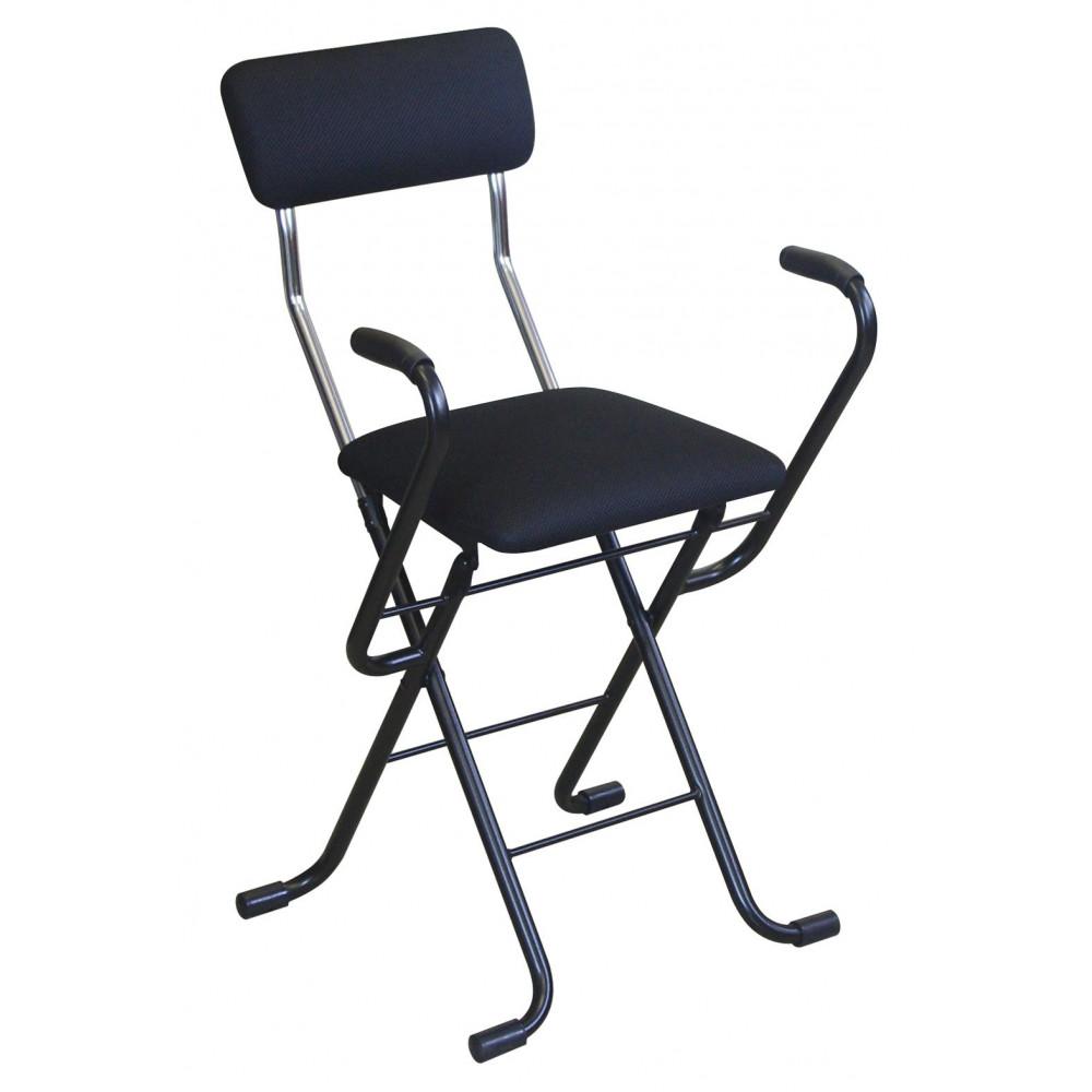 ルネセイコウ 日本製 折りたたみ椅子 フォールディング Jメッシュアームチェア ブラック/ブラック MSA-49 [ラッピング不可][代引不可][同梱不可]
