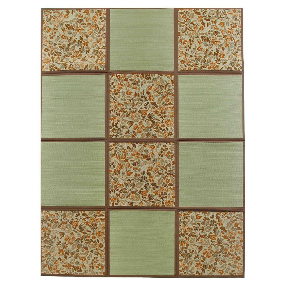 折りたたみ い草アクセントラグ 花園 ブラウン 約200×266cm HGW699141 [ラッピング不可][代引不可][同梱不可]
