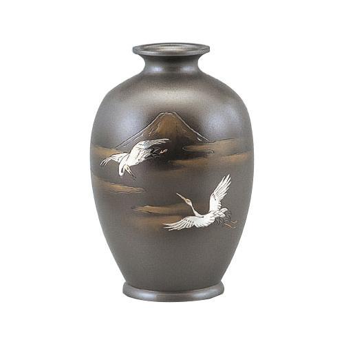 高岡銅器 銅製花瓶 新夏目形 富士鶴 8号 95-05