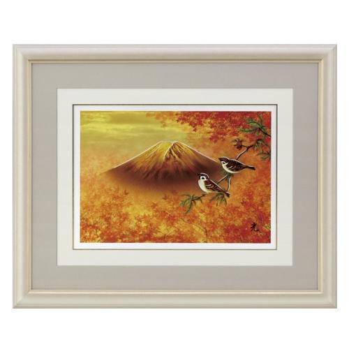 高岡銅器 世界遺産 富士の四季 彫金パネル 北光修作 紅葉富士 144-03