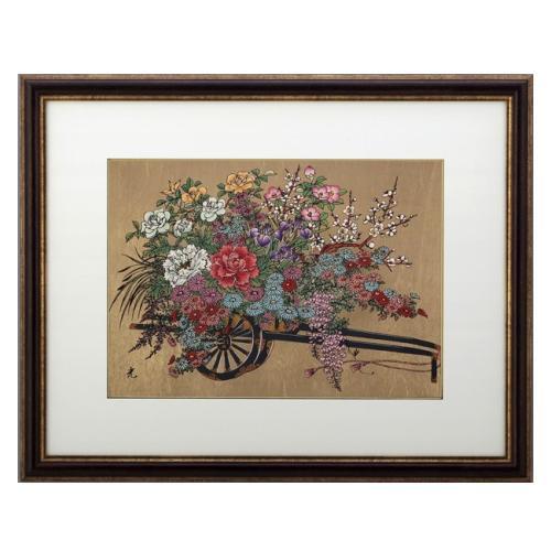 高岡銅器 彫金パネル 花車(金箔アート) 147-01