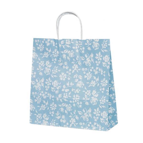 T-6 自動紐手提袋 紙袋 紙丸紐タイプ 320×110×330mm 200枚 カレン(ブルー) 1603 [ラッピング不可][代引不可][同梱不可]
