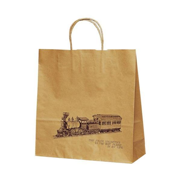 T-6 自動紐手提袋 紙袋 紙丸紐タイプ 320×110×330mm 200枚 トレイン 1657 [ラッピング不可][代引不可][同梱不可]
