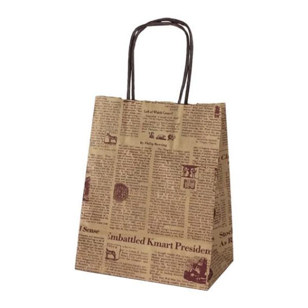 T-2 自動紐手提袋 紙袋 紙丸紐タイプ 200×120×250mm 200枚 リブル(ブラウン) 1243 [ラッピング不可][代引不可][同梱不可]