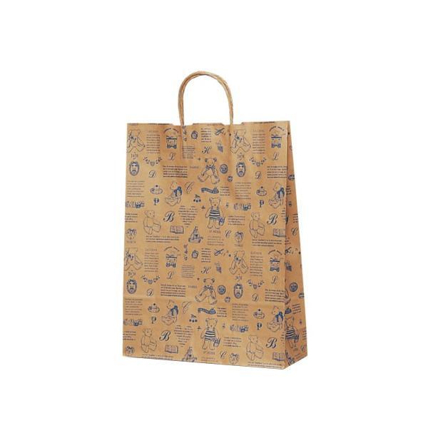 T-8 自動紐手提袋 紙袋 紙丸紐タイプ 320×110×430mm 200枚 ベアコレクション(ブルー) 1849 [ラッピング不可][代引不可][同梱不可]