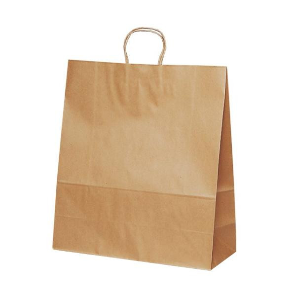 T-15 自動紐手提袋 紙袋 紙丸紐タイプ 450×180×500mm 200枚 茶無地 1546 [ラッピング不可][代引不可][同梱不可]