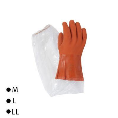 東和コーポレーション(TOWA) 腕カバー付手袋 ビニスター腕カバー付ソフト ブラウン10双 652 M [ラッピング不可][代引不可][同梱不可]