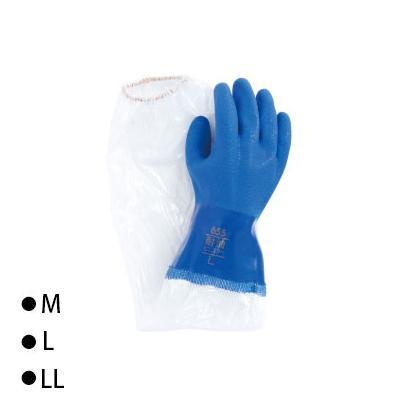 東和コーポレーション(TOWA) 腕カバー付手袋 ビニスター腕カバー付 耐油 ブルー 10双 657 M [ラッピング不可][代引不可][同梱不可]