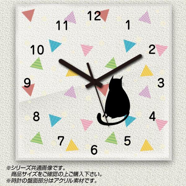 MYCLO(マイクロ) 壁掛け時計 アクリル素材(クリア) 四角 30cm 黒猫シルエット(カラフル) com303