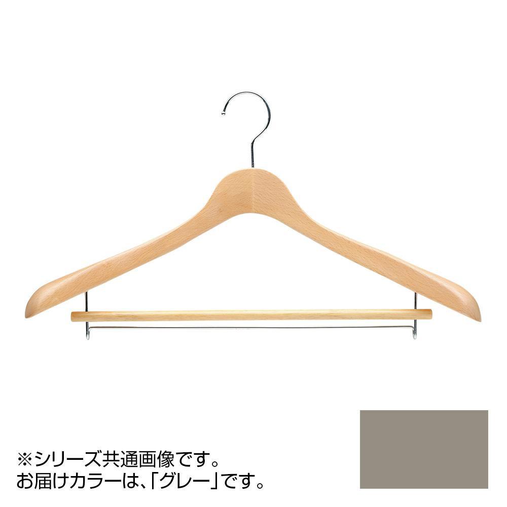 日本製 木製ハンガーメンズ用 T-5271 グレー 5本セット バー付 肩幅46cm×肩厚4cm