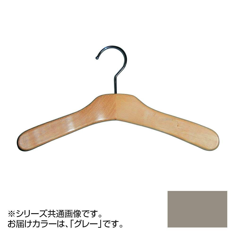 日本製 木製ハンガーキッズ用 グレー 5本セット T-4137 肩幅32cm×肩厚2cm