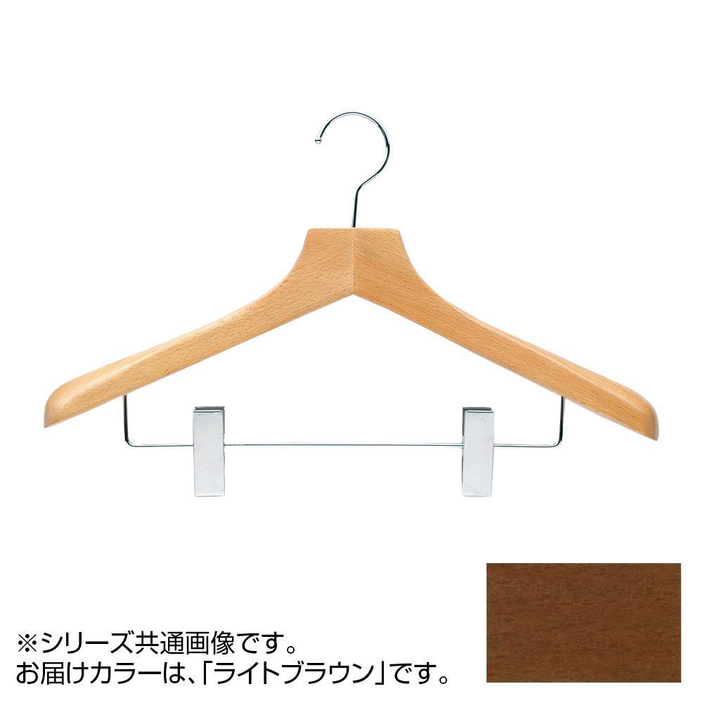 日本製 木製ハンガーメンズ用 ライトブラウン 5本セット T-5253 クリップ付 肩幅42cm×肩厚4cm