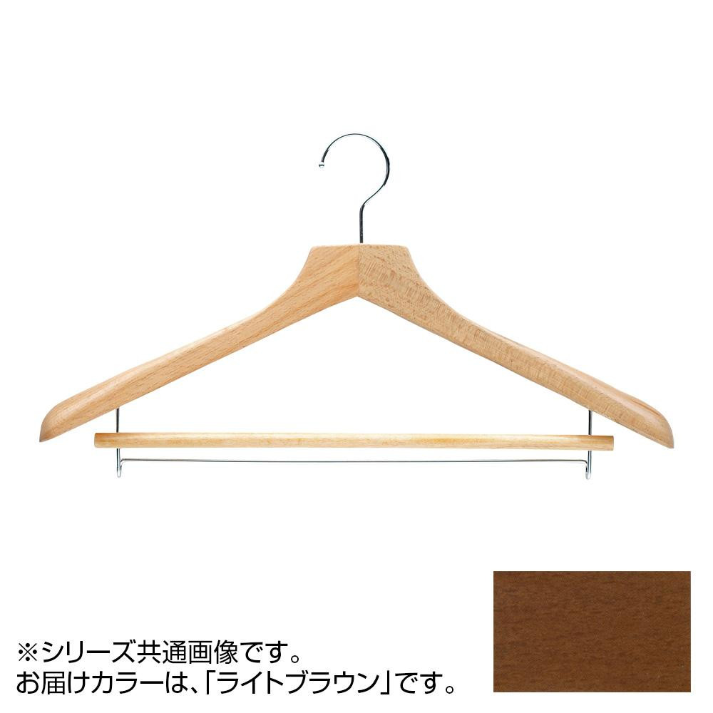 日本製 木製ハンガーメンズ用 ライトブラウン 5本セット T-5261 バー付 肩幅46cm×肩厚4.5cm