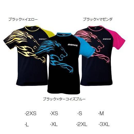 DONIC シャツ ライオン 男女兼用 ブラック×マゼンダ GL079 2XS [ラッピング不可][代引不可][同梱不可]