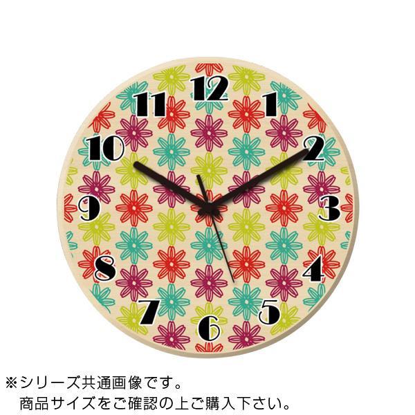 MYCLO(マイクロ) 壁掛け時計 ウッド素材(メープル) 丸型 23cm 花柄 com606