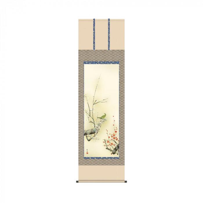 掛軸 田村竹世 「紅白梅に鶯」 KZ2A2-082 54.5×190cm [ラッピング不可][代引不可][同梱不可]