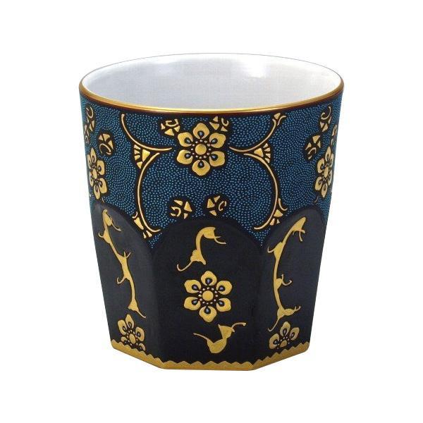 九谷焼 錦玉作 ロックカップ(白九) 漆黒青粒宝相華 N125-10