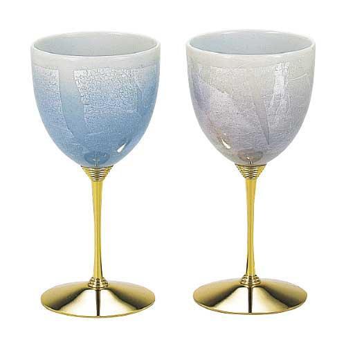 九谷焼 ペアワイン 銀彩 青色・紫色 N123-04