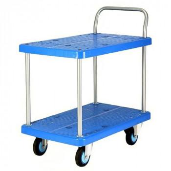 プラスチックテーブル台車 テーブル2段式 最大積載量250kg PLA250Y-T2 [ラッピング不可][代引不可][同梱不可]