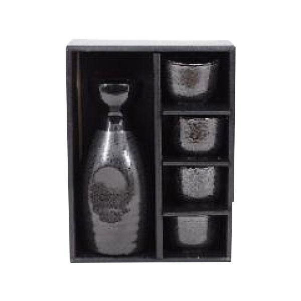 美濃焼 酒器 2合酒器1:4 黒結晶 1セット