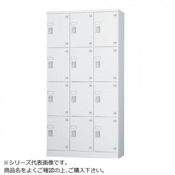 豊國工業 多人数用ロッカーハイタイプ(3列4段)シリンダー錠窓付き 棚板付き GLK-S12TSW CN-85色(ホワイトグレー) [ラッピング不可][代引不可][同梱不可]