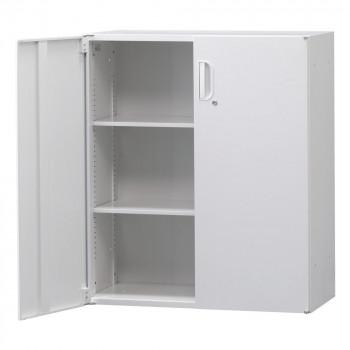 豊國工業 壁面収納庫深型両開きH1050(下置) ホワイト HOS-HRDN BN-90色(ホワイト) [ラッピング不可][代引不可][同梱不可]