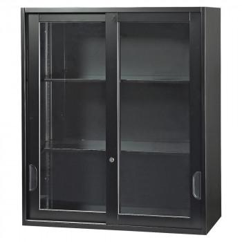 豊國工業 壁面収納庫深型引違いガラス扉 ブラック HOS-HKGN-B CN-10色(ブラック) [ラッピング不可][代引不可][同梱不可]
