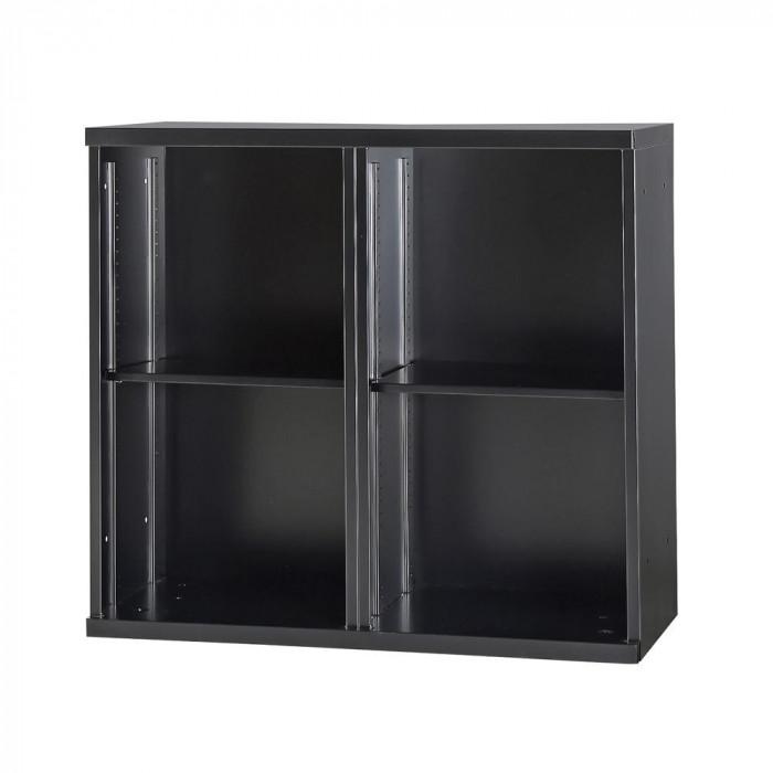 豊國工業 コンビネーション収納庫オープン2列 棚板2枚付 ブラック NHS-K21-B サテンブラック [ラッピング不可][代引不可][同梱不可]