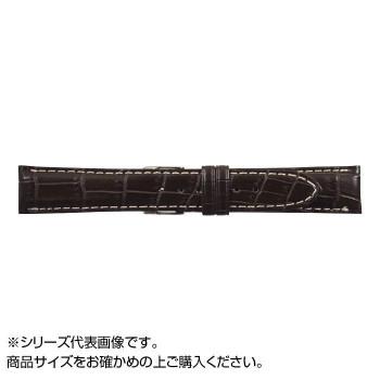 MIMOSA(ミモザ) 時計バンド クロコマット 19cm ブラウン/ホワイトステッチ (美錠:銀) WRM-BW19
