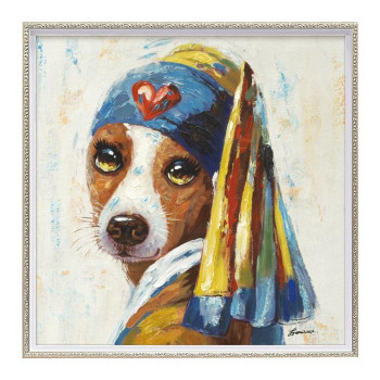 ユーパワー オイル ペイント アート 「青いターバンの犬」 OP-18029 [ラッピング不可][代引不可][同梱不可]