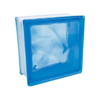 ガラスブロック 95 ウェーブ ライトブルー 6個セット [ラッピング不可][代引不可][同梱不可]