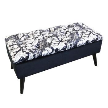 かわ畑 モダンテイスト 収納ベンチスツール 椅子 黒 1912STC002 [ラッピング不可][代引不可][同梱不可]