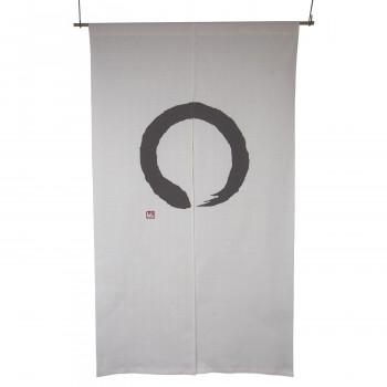 綿のれん 円 白ベース 白地にこげ茶 約巾85×丈150cm [ラッピング不可][代引不可][同梱不可]