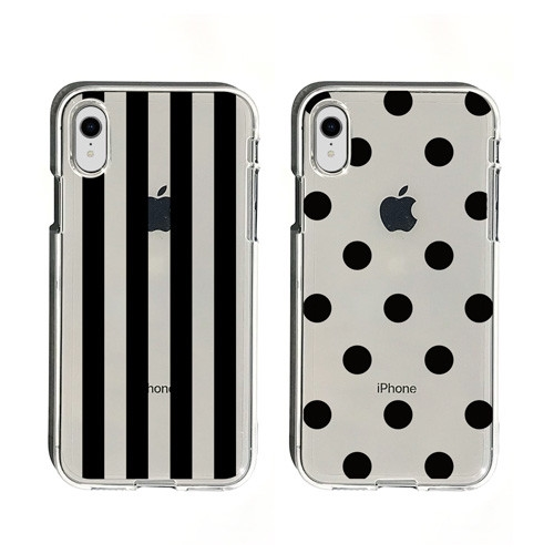 [iPhone XS/XS Max/XR] soft clear case stripe & dot [cancellation, change,  returned goods impossibility]