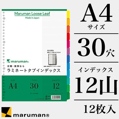 マルマン maruman / インデックス ラミネートタブインデックス 12枚 (A4 30穴 12山) (LT4012)