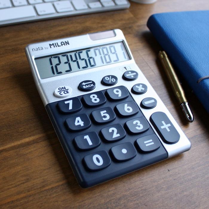 ボタンが大きくて可愛いミランの電卓!スペインからの輸入文房具 【ミラン 電卓 おしゃれ】ポイント10倍 ミラン MILAN 電卓 ビッグキー 10桁 シルバー/ブルー ブリスターパック(159906SLBBL)【電卓 かわいい デザイン おしゃれ】