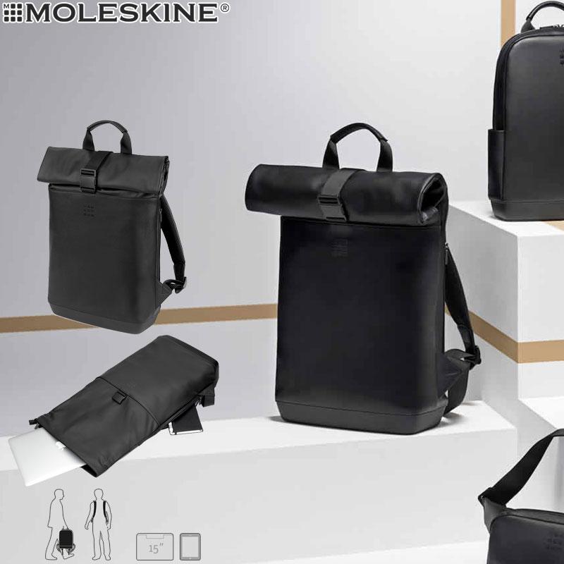 【モレスキン バッグ】ポイント10倍 モレスキン MOLESKINE クラシック ロールトップバックパック ブラック(622484)(5181102)【バックパック リュック バッグ メンズ レディース カバン おしゃれ 大人】