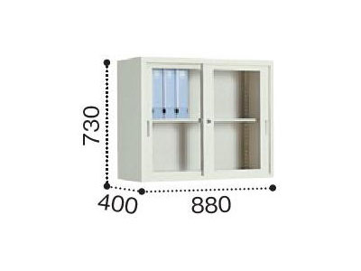 コクヨ KOKUYO / A4サイズ対応保管庫 (ガラス引き違い戸タイプ) 上置き・下置き両用 (W880 x D400 x H730)(S-325GF1N)