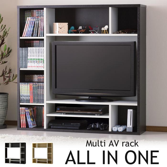 《朝日木材加工》ALL IN ONE マルチAVラック 幅115cm 対応テレビサイズ32Vまで 棚の位置が選べる テレビラック TVラック テレビボード TV台 TVボード 壁面収納 オールインワン aor-1212av