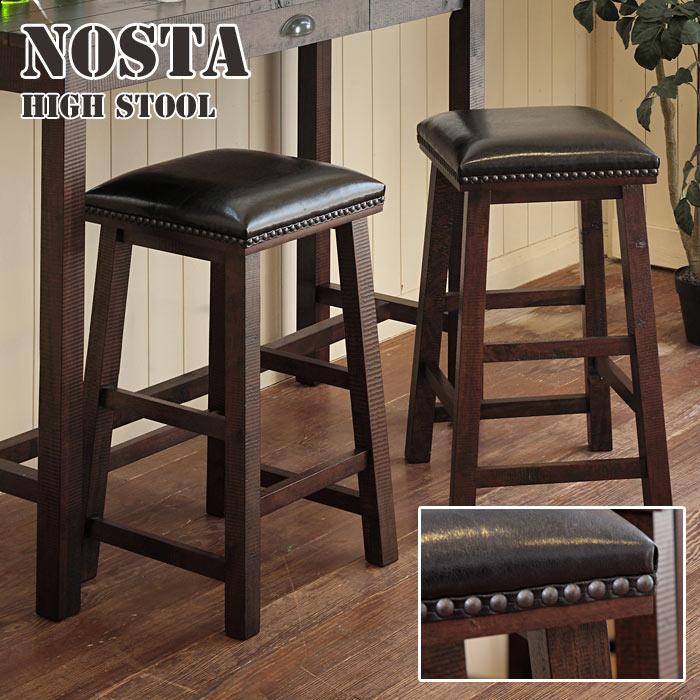 《TOCOM interior》NOSTA ノスタ ハイスツール カウンターチェア  一人掛けチェア 一人用 1p 1人用 イス 椅子 天然木使用 木製 ダメージ加工 ヴィンテージ風 バーテーブル デスク モダン カフェ風 古民家風 シンプル 北欧 ns-6204