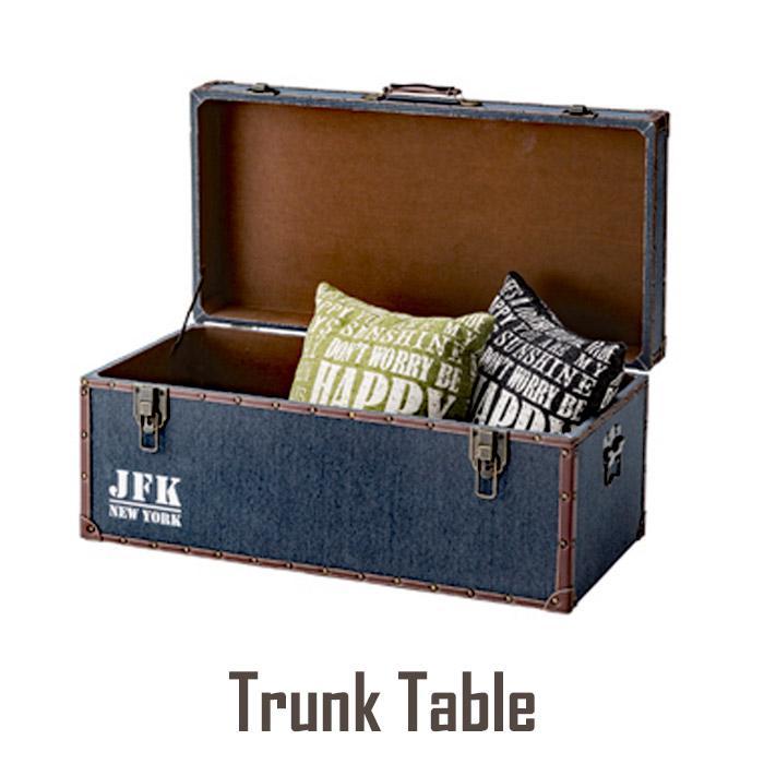 《東谷》トランクテーブル ビンテージ 収納 ボックス JFK ネイビー(iw-351)