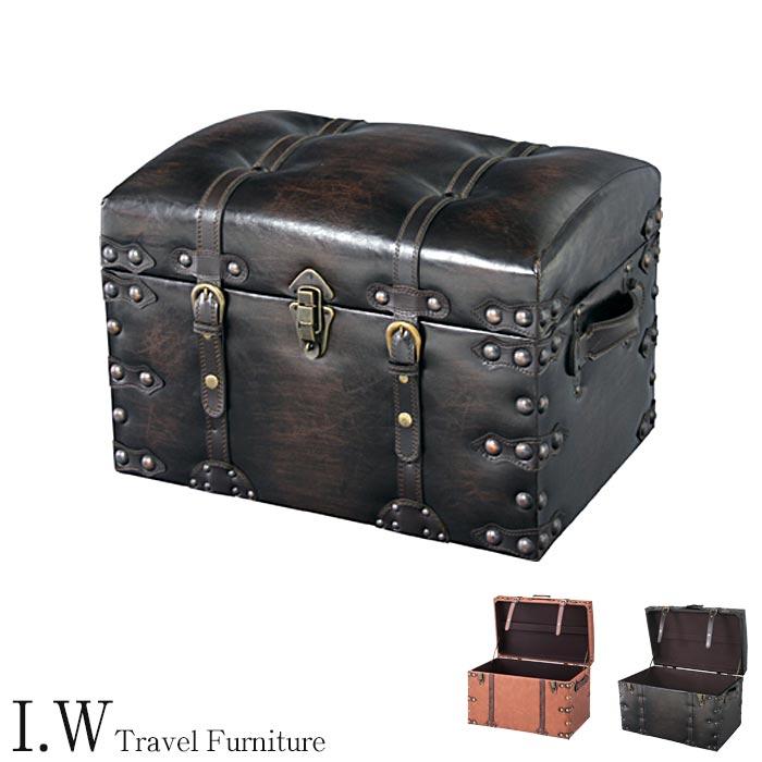 《東谷》Travel Furniture Trunk set トランクセット 2個セット セット販売 収納ボックス スツール一人掛けチェア ヴィンテージデザイン レトロモダン 合皮 トラベルファニチャー アイダブリュー iw-trunkset IW-276 IW-876