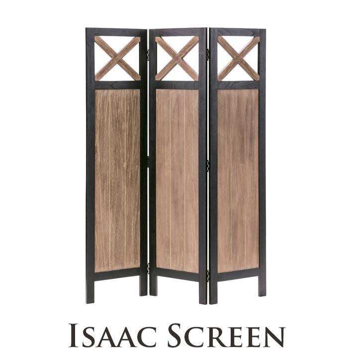 《東谷》isaac アイザック スクリーン3連 幅40cm 高さ155cm  衝立 パーテーション 仕切り 目隠し 折りたたみ コンパクト シンプル モダンシック 天然木 ミンディ使用 木製 お洒落 インダストリアル 西海岸 cafe カフェスタイル nw-862