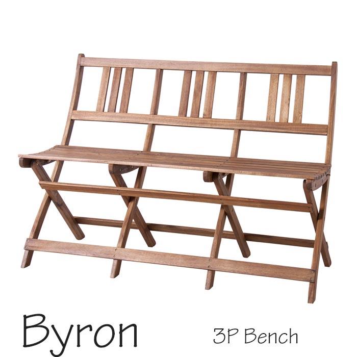 [中型家具]《東谷》バイロン 折りたたみ3pベンチ 三人掛けベンチ3人用 3人掛け 椅子 背もたれ有り 天然木 アカシア材使用 アウトドア 屋外用 レジャー ガーデン アカシアシリーズ テラス ベランダ用 Byron nx-905
